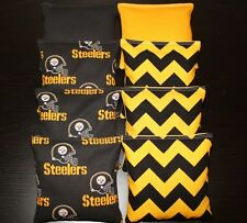 All Weather made w Pittsburgh Steelers Fabric 8 Cornhole Bean Bags