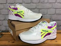 REEBOK CLASSICS MENS UK 8 EUR 42 AZTREK WHITE PURPLE NEON YELLOW TRAINERS CS