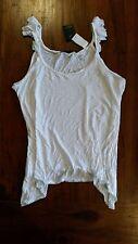 Just Jeans white crochet trim ruffle shoulder tank szL BNWT free post E9