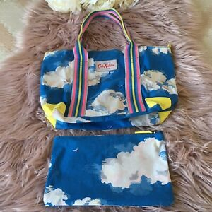 Women's, Cath Kidston, Tote Bag, Packable With Zip Pouch, Blue, Cloud Print