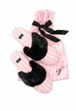 New Victoria's Secret Women's Satin Signature Slippers Pink White Stripe M 7-8