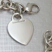 "Tiffany & Co Sterling Silver Blank Heart Tag Bracelet Size Medium 7.75"""