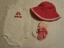 Gymboree Flamingo Flowers Bodysuit, Socks & Hat Set Outfit NWT 0-3 Month