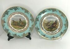 JKW Bavaria West Germany Lot 2 Dinner Plates Porcelain Pheasant 22k Gold Plated
