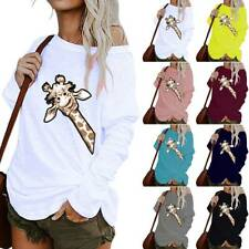 Ladies One Shoulder Long Sleeve Blouse Tops Printed Baggy Pullover Tunic Shirts