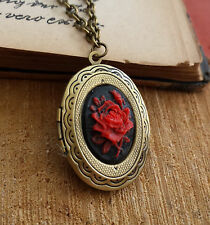 Medaglione foto Gothic CATENA Victorian ROSE CABOCHON CAMEO FLOWER photo locket