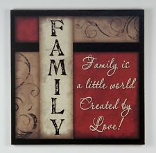Primitive Wood Sign FAMILY IS A LITTLE WORLD CREATED BY LOVE Home wall Decor