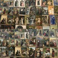 Huge Lot of~Romantic~Vintage Antique~ Postcards -Men Ladies-People-Romance-a153