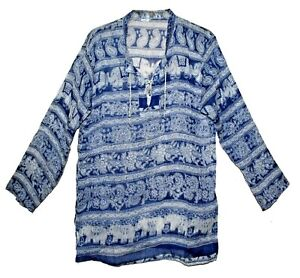 Indian Cotton Top Ethnic Women Ladies Uk Shirt Sleeve Neck Long Blouse Casual