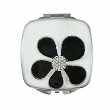 Compact Mirror, Flower Power, Square with Swarovski Crystals & Leather Pouch