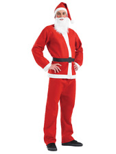 Adult Santa Claus Suit Father Christmas Fancy Dress Costume Mens Xmas Outfit UK