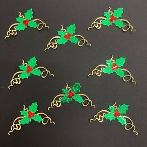 Christmas Holly Sprig Die Cuts - Assorted Sets of 8 Pieces