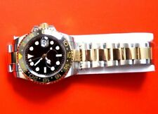 PARNIS SUBMARINER GMT GOLD TWO TONE CERAMIC BEZEL STAINLESS AUTOMATIC SAPPHIRE