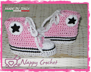 SCARPINE NEONATO UNCINETTO BABY BOOTIES CROCHET DELUXE ALL STAR CONVERSE TENNIS