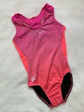 Laurie Hernandez Leotard Gk Elite gymnastics Pink OmbrÉ Mesh Sequin Bling New As