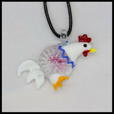 Fashion Women's cock lampwork Murano art glass beaded pendant necklace #A10