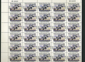 2004 Virginia USA Full Sheet of 30 Governor's Edition Waterfowl Duck Stamp