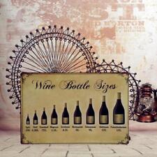 20x30cm Wine Bottle Sizes Metal Tin Sign Bar Pub Plaque Wall Art Decoration