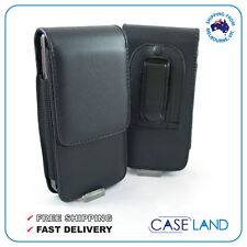 BLACK LEATHER BELT CLIP HOLSTER CASE COVER FOR VARIOUS SAMSUNG GALAXY PHONES