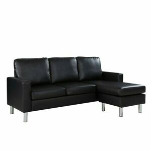 Bonded Leather Sectional Sofa - Black