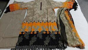 Pakistani designer Embrioded Lawn suit STITCHED l , large  , Shalwar Kameez