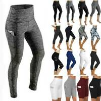Women Compression Yoga Workout Pants High Waisted Athletic Leggings With Pockets