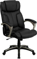 Black Leather High Back Folding Home Office Desk Task Chair Fits Under Your Desk