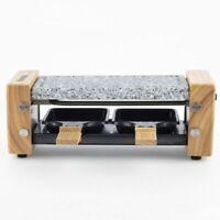 H.KOENIG Raclette Grill mit Granitstein Holzdesign für 2 Personen 350 W