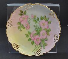 """Vintage Ceramics Reticulated Floral Hand Painted Wall Plate Gold Gilt 10 1/4"""" G9"""