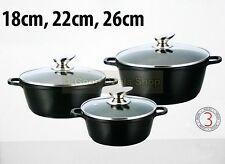 3PC INDUCTION NON STICK CASSEROLE POT COOKING SET PAN STOCKPOT HOB 18-26cm BLACK