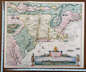 Old Antique Poster map New England, New York, Manhattan 1655 1600's Reprint