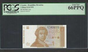 Croatia One Dinar 8-10-1991 P16a Uncirculated Graded 66