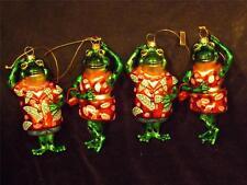 "Nwot Lot 4 Matching Dancing Frog Glass Ornaments 2 Men 2 Ladies Exc 5"""