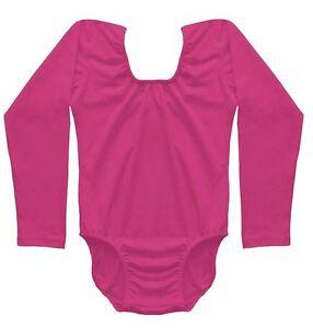 Girls Quality Hot Pink Short Long Sleeve Sleeveless Cotton Elastic Leotards