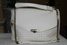 Versace Collection White Chain Detailed Woven Leather Satchel Purse