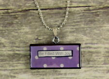 Be Filled With Joy Necklace Pendant Reclaimed Art Jewelry Purple Polka Dots