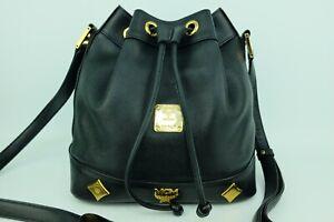 100% Authentic MCM Black Leather Drawstring Bucket Bag