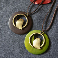 Fashion Women Bird Wooden Bead Pendant Vintage Long Necklace  FE ME