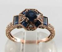 CUSTOM ORDER 9CT 9K ROSE GOLD SAPPHIRE & DIAMOND ART DECO RING Size K  5.5 US