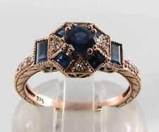 Divine 9CT 9K Rose Oro Zaffiro & Diamante Anello Art Deco INS libero Ridimensiona