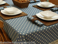 140x210cm RECTANGLE VINTAGE BLUE WITH CREAM POLKA DOT / SPOTTED TABLECLOTH