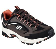 Men's SZ 10.5D Medium, SKECHERS Sport Stamina Cutback Wide Oxford, BRN/BLK/ORG