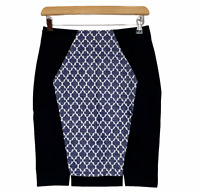 Portmans Womens Black/Blue/White Corporate Lined Pencil Skirt Size 8 W27