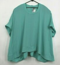 Melissa McCarthy Seven7 Womens Button Back Boxy Tee Solid Teal Hi Lo Hem 2X