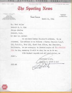 1944 Detroit Tigers World War II historical document Murray Franklin UNIQUE!