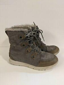 Sorel Explorer Joan Quarry Waterproof Boots Size 9 grey