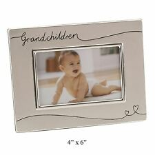 GRANDCHILDREN BRUSHED SILVER PHOTO FRAME 6X4 LANDSCAPE WITH HEARTS