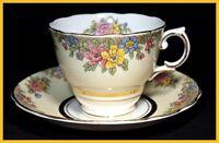 Colclough Yellow Floral Cups & Saucers - Circa 1936