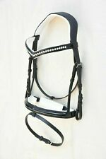New Dressage leather Bridle With White Crystal Browband All Size Free Shipping.