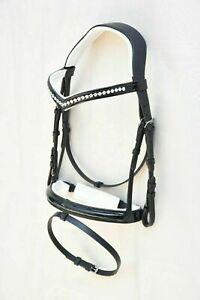 New Dressage leather Bridle With White Crystal Browband All Size Free Shipping